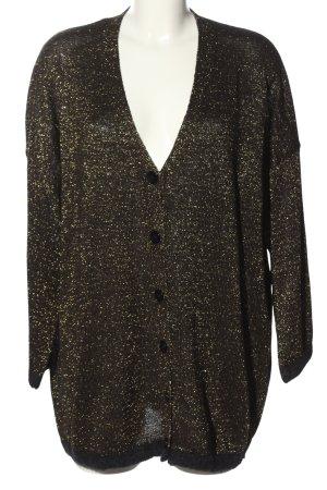 Zara Knit Strickjacke schwarz-goldfarben meliert Casual-Look