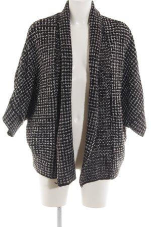 Zara Knit Strickjacke schwarz-weiß Zopfmuster Casual-Look