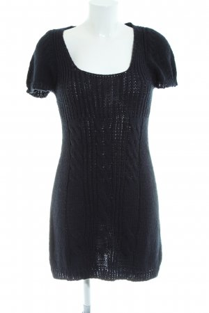 Zara Knit Strickkleid schwarz Zopfmuster Casual-Look