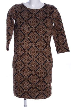 Zara Knit Strickkleid braun-schwarz Allover-Druck Elegant