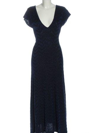 Zara Knit Strickkleid blau-silberfarben Allover-Druck Glanz-Optik