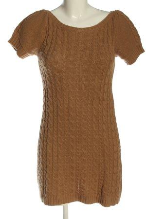Zara Knit Strickkleid braun Zopfmuster Casual-Look