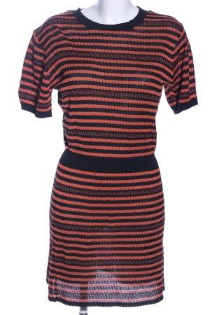 Zara Knit Strickkleid schwarz-hellorange Streifenmuster Casual-Look
