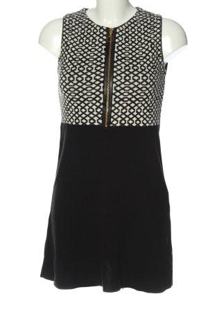 Zara Knit Strickkleid schwarz-creme Allover-Druck Casual-Look