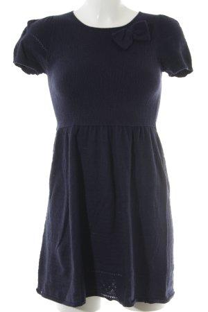 Zara Knit Strickkleid dunkelblau Schleifen-Detail