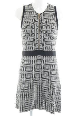 Zara Knit Strickkleid schwarz-wollweiß grafisches Muster Metallelemente