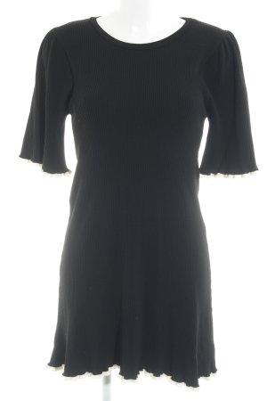 Zara Knit Abito di maglia nero-bianco sporco stile semplice