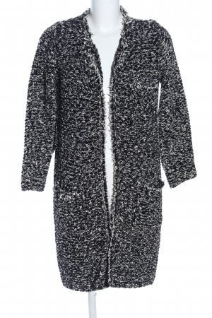 Zara Knit Abrigo de punto negro-blanco moteado look casual