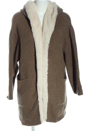 Zara Knit Cappotto a maglia marrone puntinato stile casual