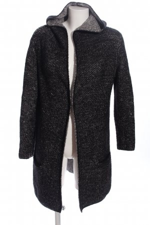 Zara Knit Knitted Coat black flecked casual look