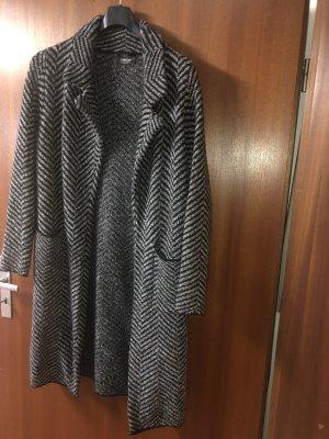 Zara Knit Wollen jas zwart-lichtgrijs Wol