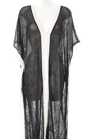 Zara Knit Strickponcho schwarz-weiß