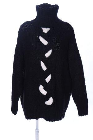 Zara Knit Strickpullover schwarz-weiß Zopfmuster Casual-Look