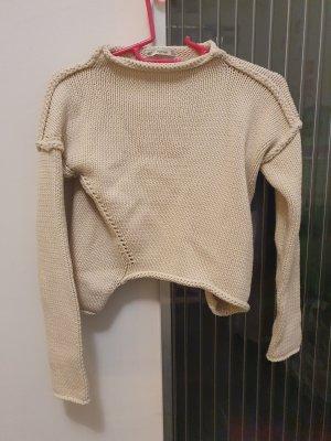 Zara Knit Pullover a maglia grossa bianco sporco-crema