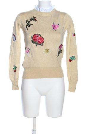 Zara Knit Strickpullover Motivdruck Casual-Look