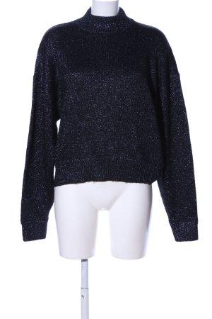 Zara Knit Strickpullover schwarz-silberfarben meliert Casual-Look
