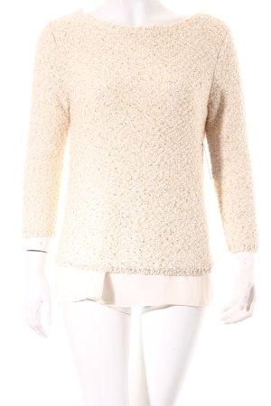 Zara Knit Strickpullover creme-goldfarben Paillettenverzierung