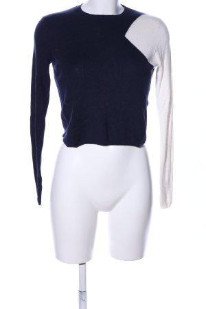 Zara Knit Strickpullover blau-weiß Casual-Look
