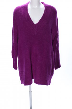 Zara Knit Strickpullover lila Business-Look