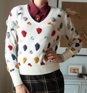 Zara Knit Strickpullover Pullover mit 3D Frucht Applikationen weiß Gr. M NEU
