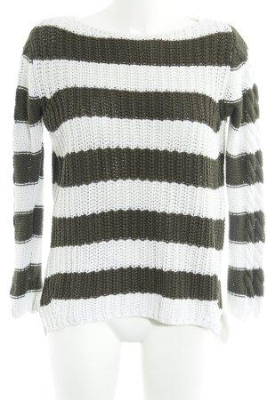 Zara Knit Strickpullover weiß-khaki Streifenmuster Casual-Look