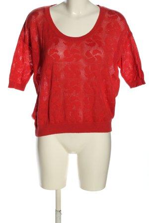Zara Knit Strickshirt rot Blumenmuster Casual-Look