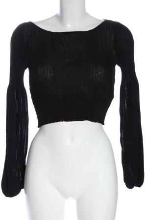 Zara Knit Strickshirt schwarz Zopfmuster Casual-Look