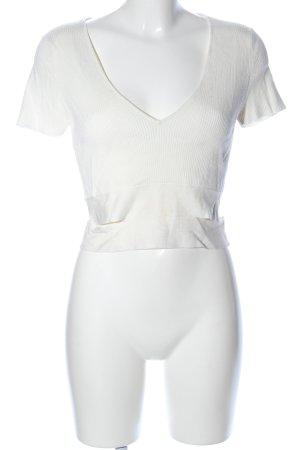 Zara Knit Strickshirt wollweiß Casual-Look