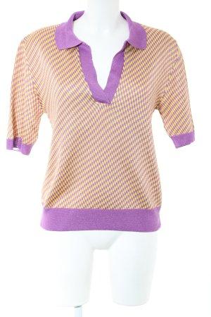 Zara Knit Strickshirt lila-blassgelb grafisches Muster Casual-Look