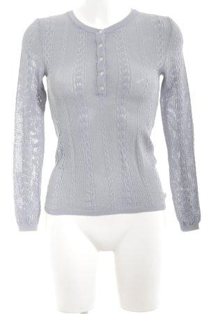 Zara Knit Strickshirt blau-türkis Zopfmuster Casual-Look