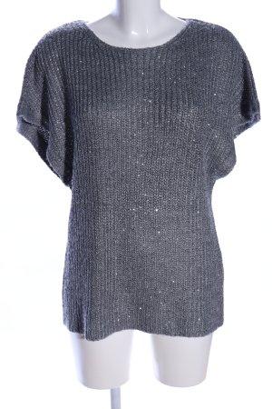 Zara Knit Strickshirt hellgrau Business-Look
