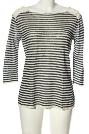 Zara Knit Strickshirt weiß-schwarz Allover-Druck Casual-Look