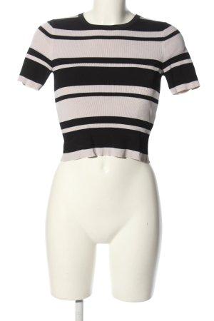 Zara Knit Strickshirt schwarz-creme Streifenmuster Casual-Look