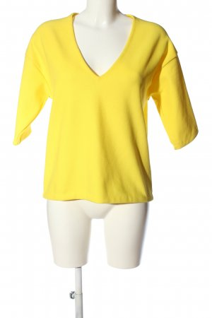 Zara Knit Strickshirt blassgelb Elegant