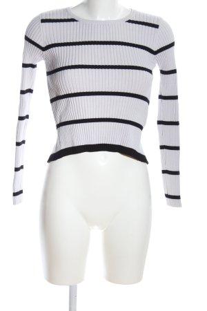 Zara Knit Strickshirt schwarz-hellgrau Streifenmuster Casual-Look