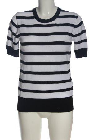 Zara Knit Strickshirt weiß-schwarz Streifenmuster Casual-Look