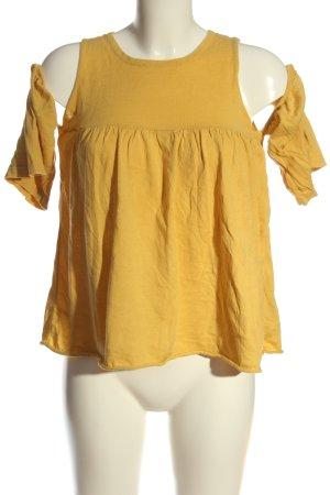 Zara Knit Strickshirt blassgelb Casual-Look