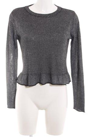Zara Knit Strickshirt schwarz-silberfarben meliert Casual-Look