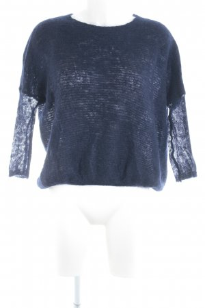 Zara Knit Strickshirt dunkelblau Casual-Look