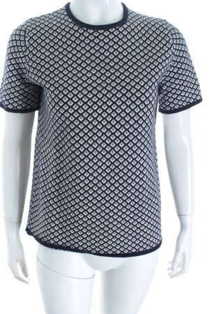 Zara Knit Strickshirt dunkelblau-wollweiß abstraktes Muster Casual-Look