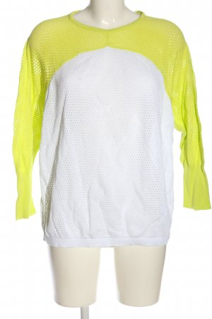 Zara Knit Strickshirt weiß-blassgelb Webmuster Casual-Look