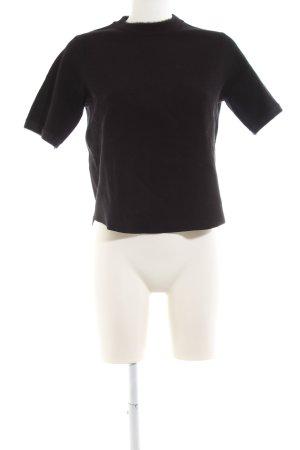 Zara Knit Strickshirt schwarz Business-Look