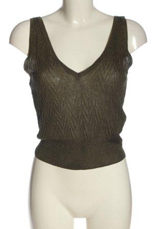 Zara Knit Haut tricotés kaki motif abstrait élégant
