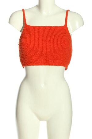 Zara Knit Top lavorato a maglia arancione chiaro stile casual