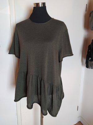 Zara Knit, Stricktop Baumwollmix, oversized, asymmetrisch,  oliv, S