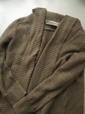 ZARA Knit Strickweste Beige Baumwolle