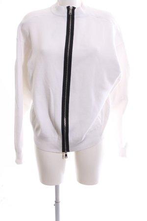 Zara Knit Sweatjacke weiß-schwarz Casual-Look