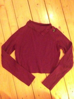 Zara Knit Top z dekoltem typu halter głęboka czerwień-bordo