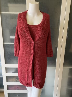 Zara Knit Twin set in maglia carminio