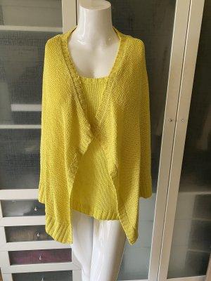 Zara Knit Cárdigan de punto grueso amarillo neón